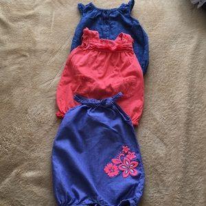 Bundle of 3 blue & Orange Onesie size 6-12 Months
